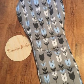Black Blue arrow on grey pram liner min 297x297 - Arrow Black/Blue on Grey Custom Fit Pram Liner (premium fabric print)