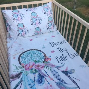 Boho dream catcher cot quilt set 2 min 297x297 - Dream Big Little One Cot Quilt (Reversible with watercolour floral)