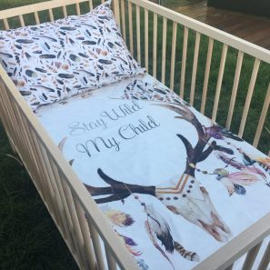 Stay wild my child cot quilt set min 297x297 - Stay Wild My Child Cot Quilt (Reversible with Brown Feathers)