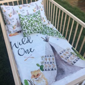 Wild one cot quilt set 2 min 297x297 - Wild One Cot Quilt (Reversible with green Cactus)
