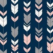 Arrow Pink and grey on Navy (premium print fabric)