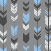Arrow blue black on grey (premium print fabric)