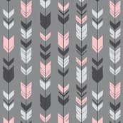 Arrows pink Black on grey (premium print fabric)