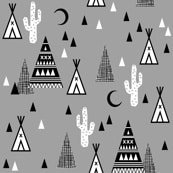 Night time tee pee cactus (premium print fabric)