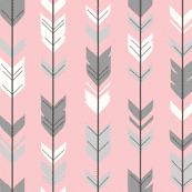 Arrow grey on pink (premium print fabric)
