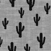 Black cactus on grey (premium print fabric)