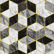 Marble grey, black, gold (premium print fabric)