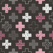 Pink cross on dark( premium print fabric)
