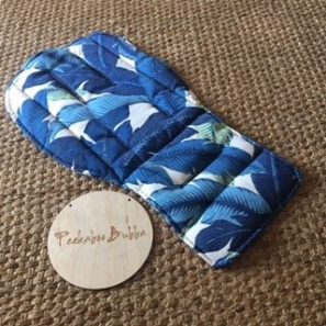image2 297x297 - Bahama Leaf Blue Custom Fit or Universal Pram Liner (regular fabric)