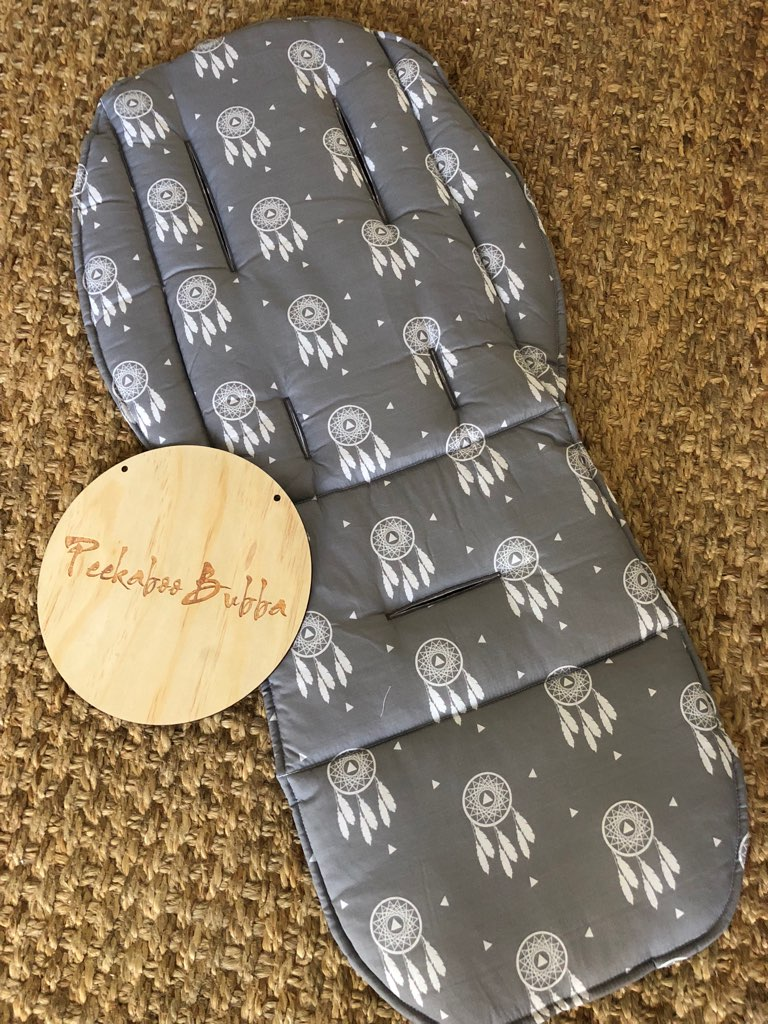 Dream catcher grey premium fabric - Dream catcher grey Universal or Custom Fit Pram Liner (premium fabric)
