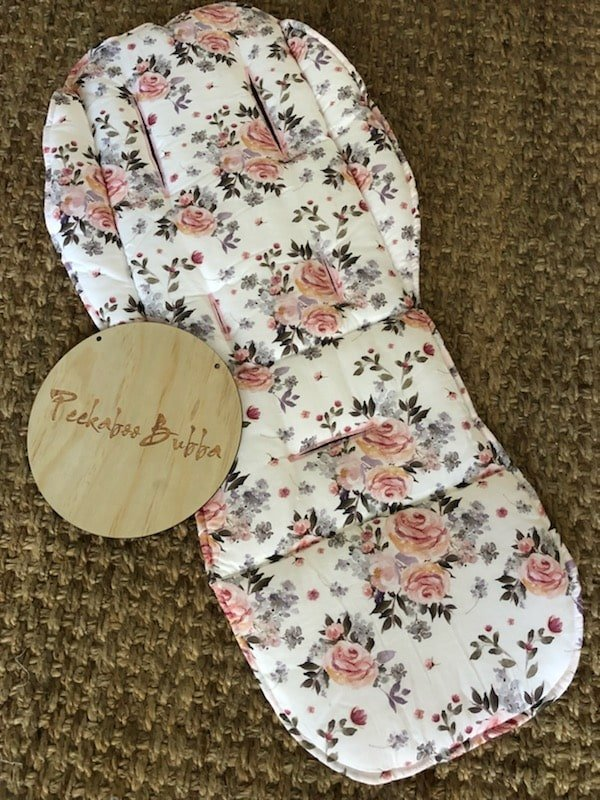 Floral roses leaves premium fabric - Floral roses & leaves Universal or Custom Fit Pram Liner (premium fabric)