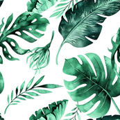 Leaves mixed green (premium fabric)