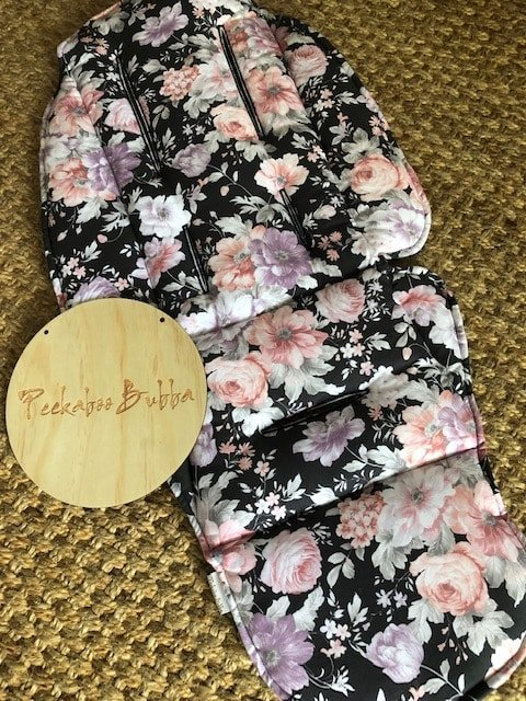 image2 1 - Blossom flowers charcoal custom fit or universal pram liner (regular fabric)