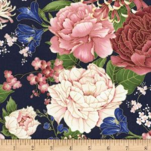 OUT OF STOCK Metallic peonies navy(regular fabric)