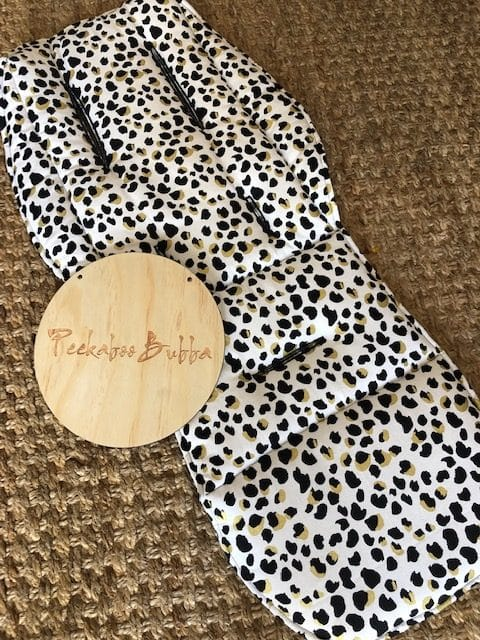 image1 1 e1569298118232 - Leopard print gold white Custom fit or Universal Pram Liner Limited edition only!  (regular fabric)
